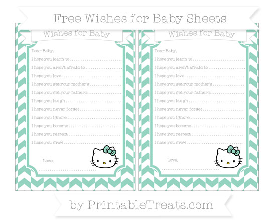 Free Pastel Green Herringbone Pattern Hello Kitty Wishes for Baby Sheets