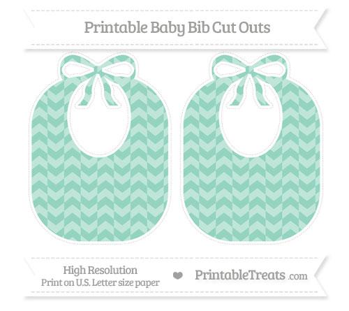 Free Pastel Green Herringbone Pattern Large Baby Bib Cut Outs