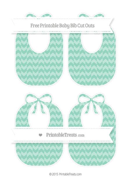 Free Pastel Green Herringbone Pattern Medium Baby Bib Cut Outs