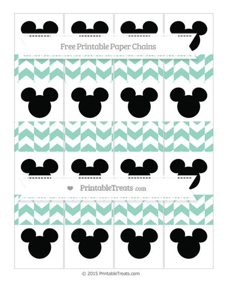 Free Pastel Green Herringbone Pattern Mickey Mouse Paper Chains