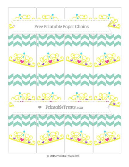 Free Pastel Green Herringbone Pattern Princess Tiara Paper Chains