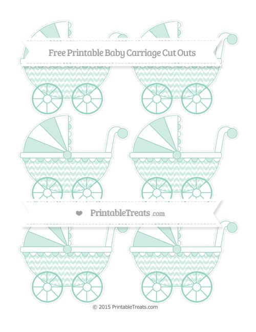 Free Pastel Green Herringbone Pattern Small Baby Carriage Cut Outs