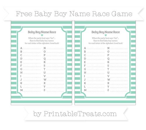 Free Pastel Green Horizontal Striped Baby Boy Name Race Game