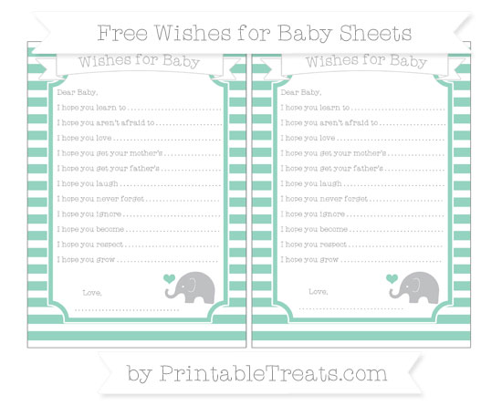 Free Pastel Green Horizontal Striped Baby Elephant Wishes for Baby Sheets