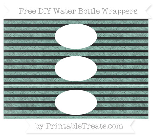 Free Pastel Green Horizontal Striped Chalk Style DIY Water Bottle Wrappers