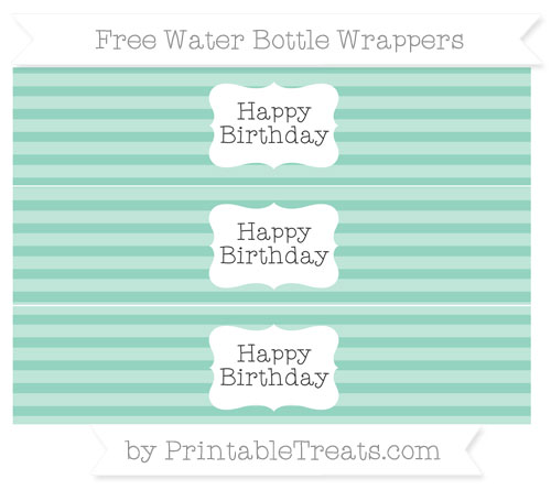 Free Pastel Green Horizontal Striped Happy Birhtday Water Bottle Wrappers