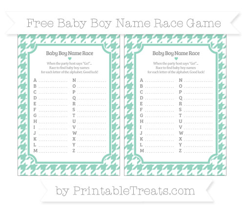 Free Pastel Green Houndstooth Pattern Baby Boy Name Race Game
