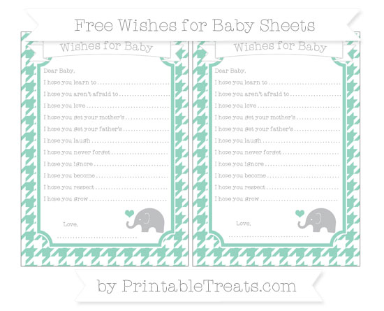 Free Pastel Green Houndstooth Pattern Baby Elephant Wishes for Baby Sheets