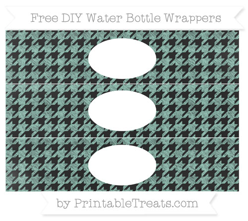 Free Pastel Green Houndstooth Pattern Chalk Style DIY Water Bottle Wrappers