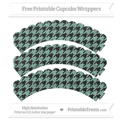 Free Pastel Green Houndstooth Pattern Chalk Style Scalloped Cupcake Wrappers