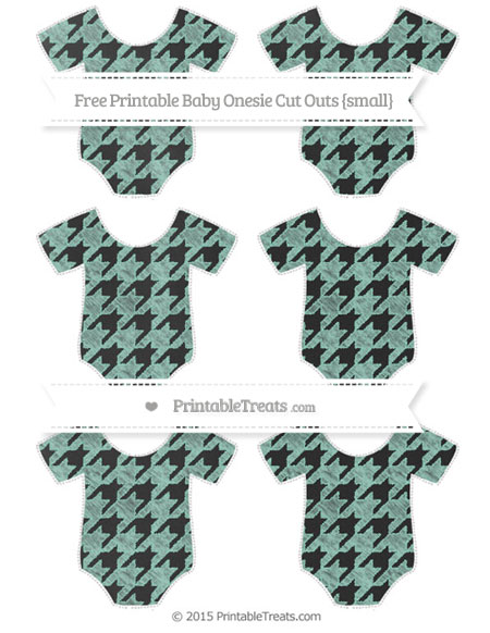Free Pastel Green Houndstooth Pattern Chalk Style Small Baby Onesie Cut Outs
