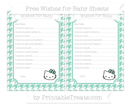 Free Pastel Green Houndstooth Pattern Hello Kitty Wishes for Baby Sheets