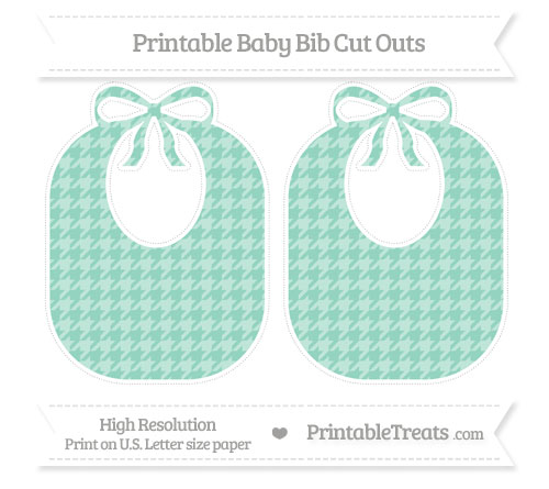 Free Pastel Green Houndstooth Pattern Large Baby Bib Cut Outs