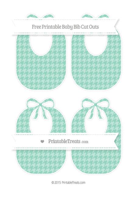 Free Pastel Green Houndstooth Pattern Medium Baby Bib Cut Outs