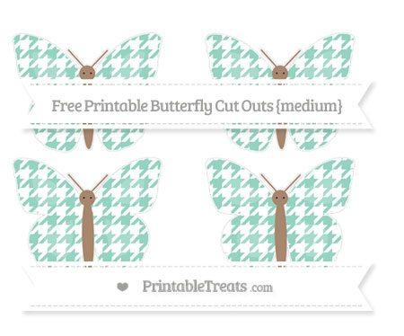 Free Pastel Green Houndstooth Pattern Medium Butterfly Cut Outs