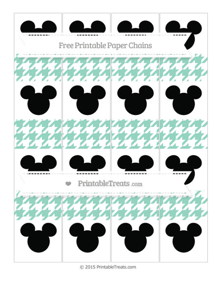 Free Pastel Green Houndstooth Pattern Mickey Mouse Paper Chains