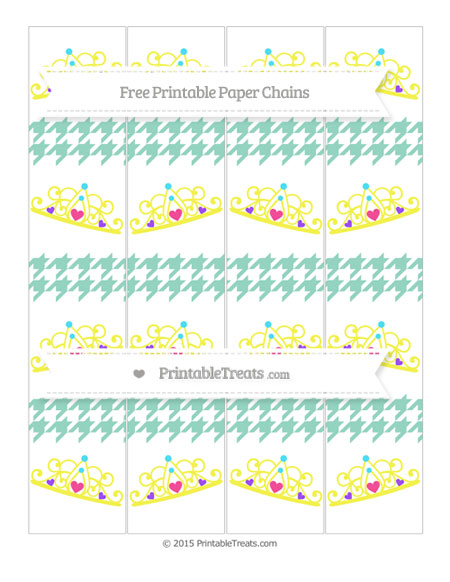 Free Pastel Green Houndstooth Pattern Princess Tiara Paper Chains