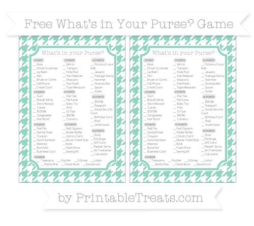 Free Pastel Green Houndstooth Pattern What's in Your Purse Baby Shower Game