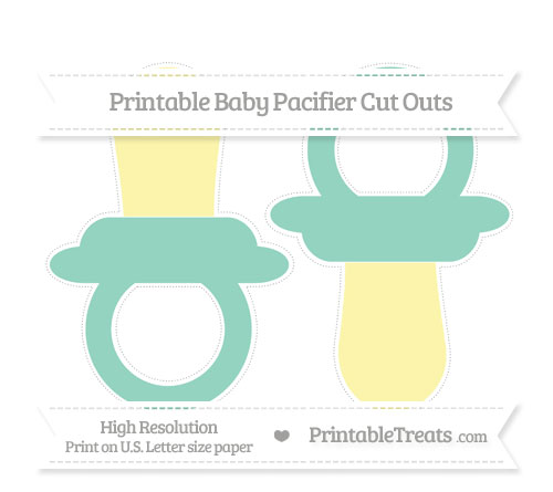 Free Pastel Green Large Baby Pacifier Cut Outs