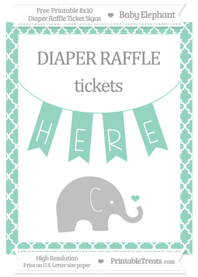 Free Pastel Green Moroccan Tile Baby Elephant 8x10 Diaper Raffle Ticket Sign