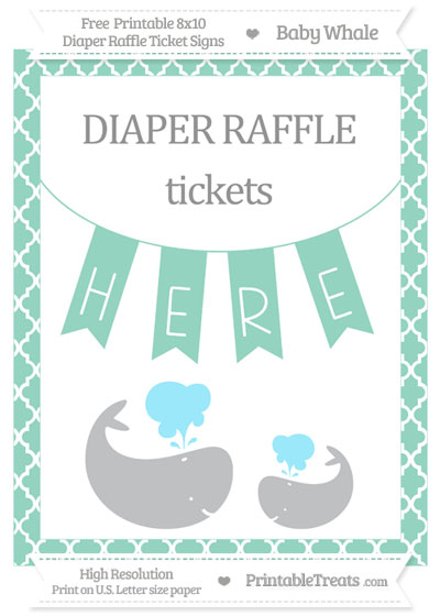 Free Pastel Green Moroccan Tile Baby Whale 8x10 Diaper Raffle Ticket Sign