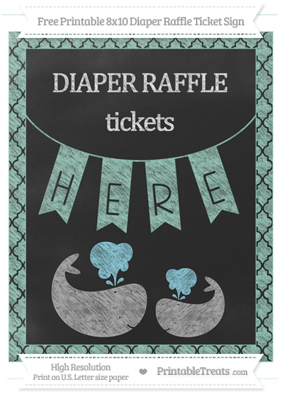 Free Pastel Green Moroccan Tile Chalk Style Baby Whale 8x10 Diaper Raffle Ticket Sign