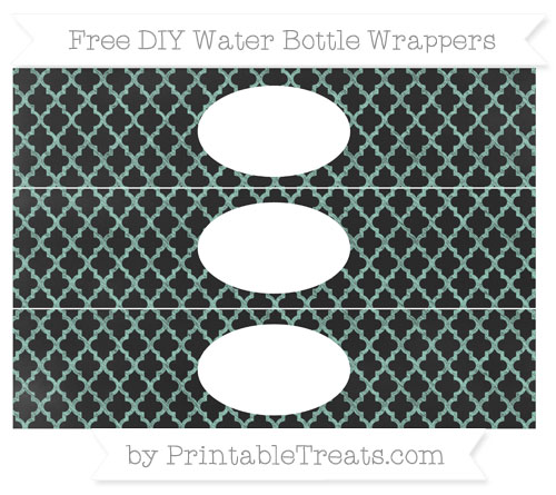 Free Pastel Green Moroccan Tile Chalk Style DIY Water Bottle Wrappers