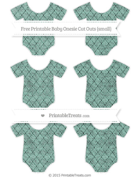 Free Pastel Green Moroccan Tile Chalk Style Small Baby Onesie Cut Outs