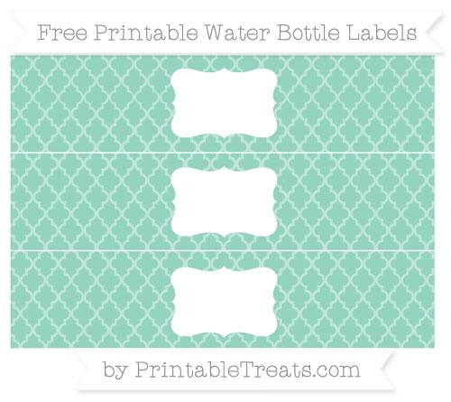 Free Pastel Green Moroccan Tile Water Bottle Labels