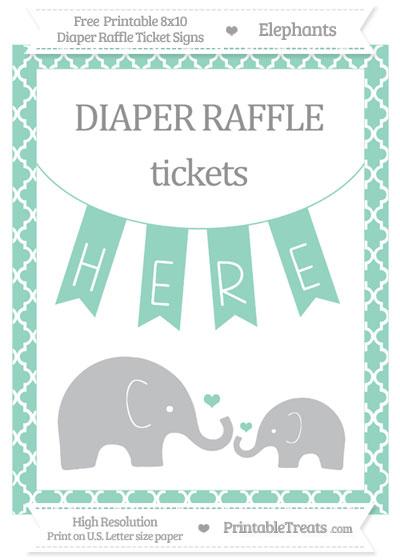 Free Pastel Green Moroccan Tile Elephant 8x10 Diaper Raffle Ticket Sign