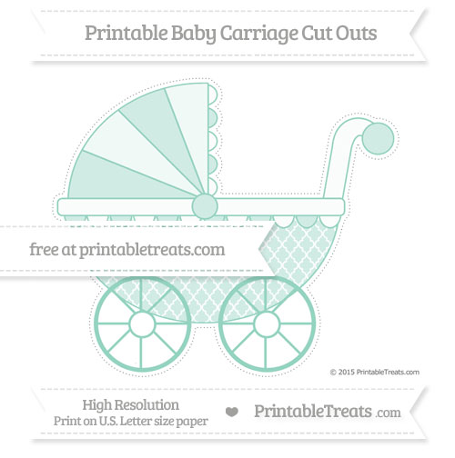 Free Pastel Green Moroccan Tile Extra Large Baby Carriage Cut Outs