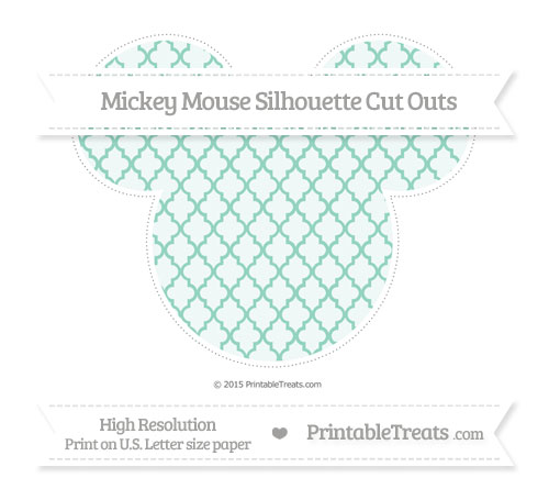 Free Pastel Green Moroccan Tile Extra Large Mickey Mouse Silhouette Cut Outs