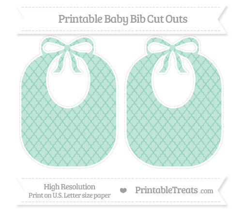 Free Pastel Green Moroccan Tile Large Baby Bib Cut Outs