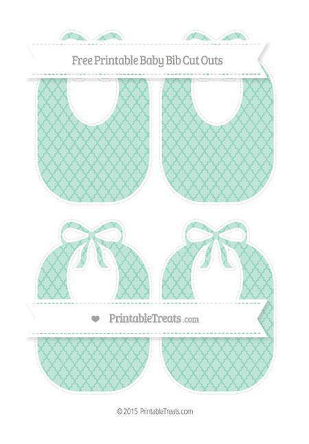 Free Pastel Green Moroccan Tile Medium Baby Bib Cut Outs