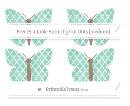 Free Pastel Green Moroccan Tile Medium Butterfly Cut Outs