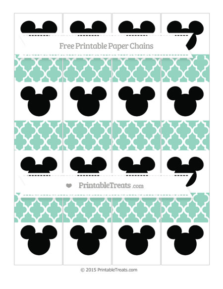 Free Pastel Green Moroccan Tile Mickey Mouse Paper Chains