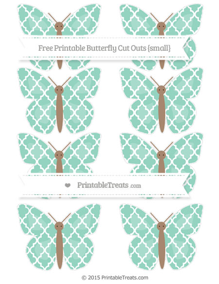 Free Pastel Green Moroccan Tile Small Butterfly Cut Outs