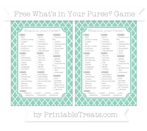 Free Pastel Green Moroccan Tile What's in Your Purse Baby Shower Game