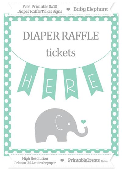 Free Pastel Green Polka Dot Baby Elephant 8x10 Diaper Raffle Ticket Sign