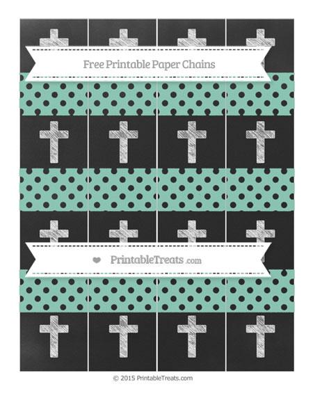 Free Pastel Green Polka Dot Chalk Style Cross Paper Chains