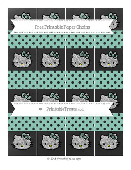 Free Pastel Green Polka Dot Chalk Style Hello Kitty Paper Chains