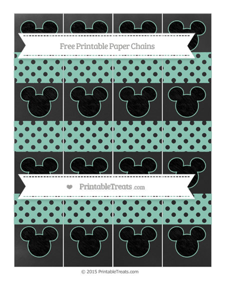 Free Pastel Green Polka Dot Chalk Style Mickey Mouse Paper Chains