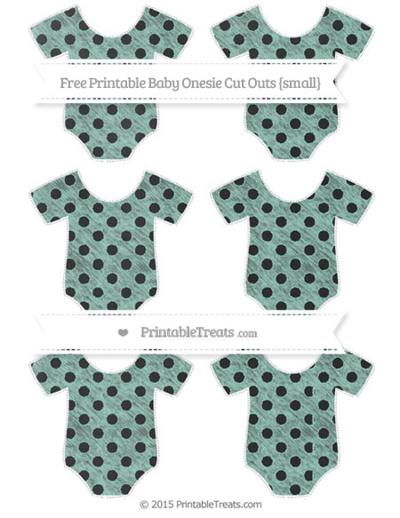 Free Pastel Green Polka Dot Chalk Style Small Baby Onesie Cut Outs