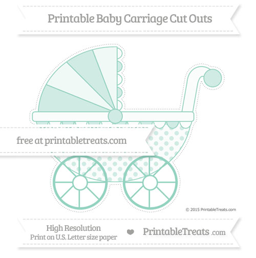 Free Pastel Green Polka Dot Extra Large Baby Carriage Cut Outs