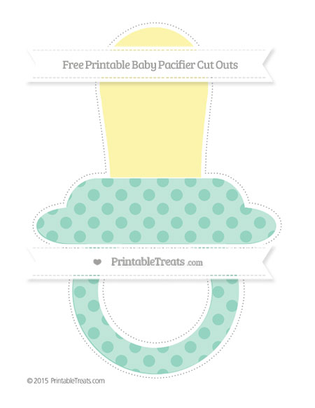 Free Pastel Green Polka Dot Extra Large Baby Pacifier Cut Outs