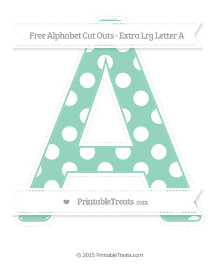 Free Pastel Green Polka Dot Extra Large Capital Letter A Cut Outs