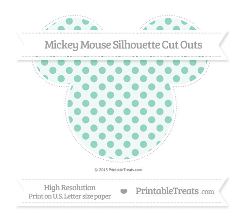 Free Pastel Green Polka Dot Extra Large Mickey Mouse Silhouette Cut Outs