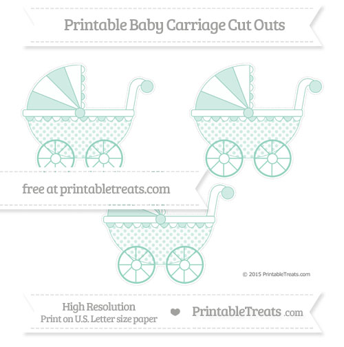 Free Pastel Green Polka Dot Medium Baby Carriage Cut Outs
