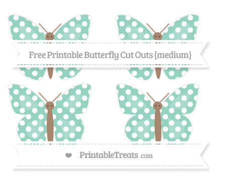 Free Pastel Green Polka Dot Medium Butterfly Cut Outs