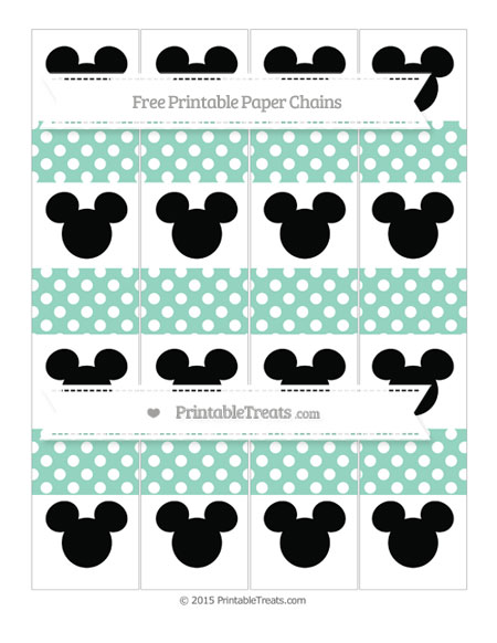 Free Pastel Green Polka Dot Mickey Mouse Paper Chains